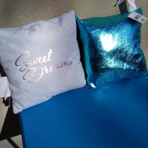 TWO MINI FASHION ACCENT PILLOWS